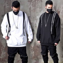 Double webbing strap loose fit sweatshirts