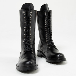 Dense lace up high tongue leather boots