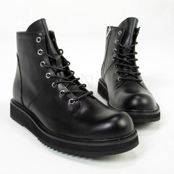 Eyelet lace-up black leather ankle boots