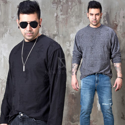 Distressed round long sleeve t-shirts