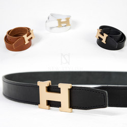 Gold H buckle leather belt
