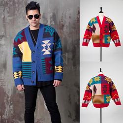 Multiple contrast figure knit cardigan