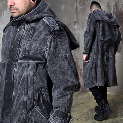 Washed black hooded denim long coat