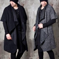 Avant-garde draping boucle open long coat