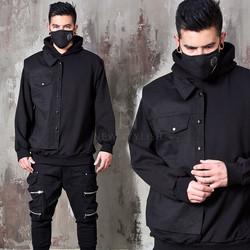 Half denim vest attached black hoodie