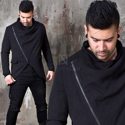 Asymmetric diagonal zipper slim jacket