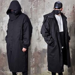 Big hooded loose fit black long jacket