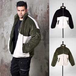 Contrast fleece fur zip-up jacket