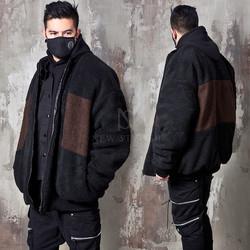 Contrast fleece fur oversized zip-up jacket