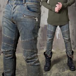 Washed blue pintuck slim biker jeans