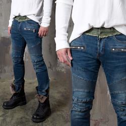 Contrast pintuck slim biker jeans