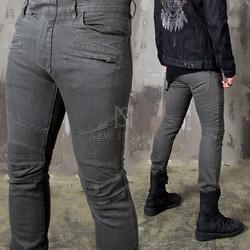 Dark gray pintuck slim biker jeans