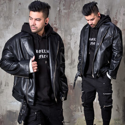 Loose fit black leather rider jacket