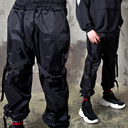 Buckled strap black banded pants