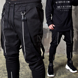 D-ring suspender strap black banded pants