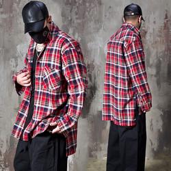 Unbalanced checkered loose fit shirts