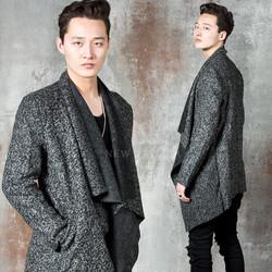 Asymmetric boucle shawl cardigan
