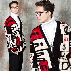 Multiple lettering and contrast knit cardigan