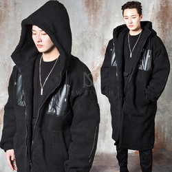 Fleece fur hooded long zip-up jacket