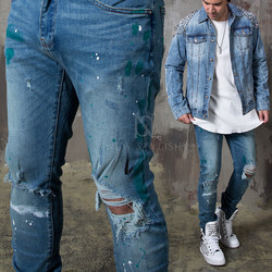 Paint stain distressed blue slim jeans