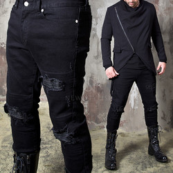 Pintuck leather layered ripped black jeans