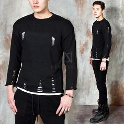 Distressed black knit shirts