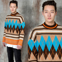 Colorful argyle patterned knit sweater