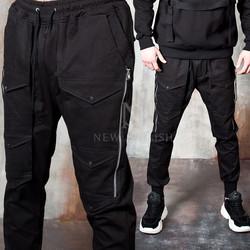 Triple pocket line long zipper pants