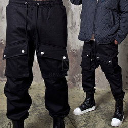 Snap button cargo pocket banded pants