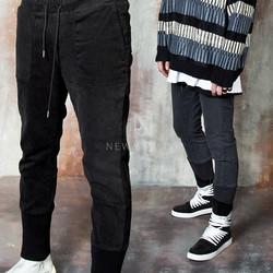 Long banded hem cotton pants