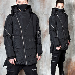 Diagonal zippered unbalanced padded parka