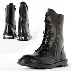 Lettering leather high-top boots