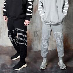 Thin striped fleece sweatpants