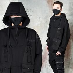 Strap pocket black techwear hoodie