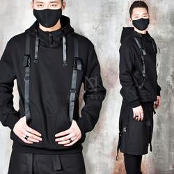 Double buckle strap techwear hoodie