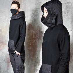 Long banded wrist hem quilted hoodie