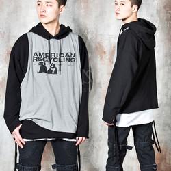 Fake tank-top layered hoodie