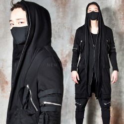 Avant-garde double layered zip-up hoodie