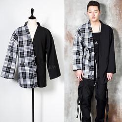 Half checkered Kimono jacket