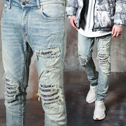 Paisley pattern layered distressed slim jeans