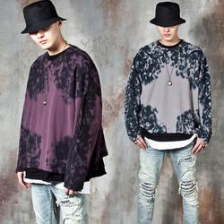 Ink pattern loose fit knit sweater