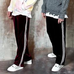 Stripe velvet banded pants