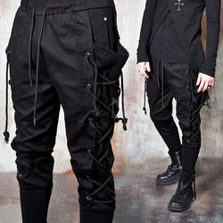 Side rope eyelet long banded hem pants