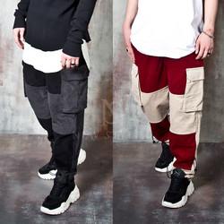 Contrast corduroy wide cargo pants