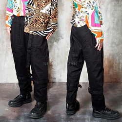 Strap belt wide baggy pants