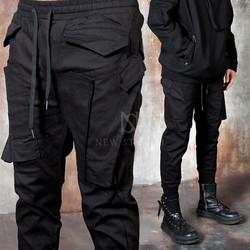 Unique multiple cargo pocket banded pants