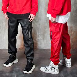 Leather zipper cargo pants