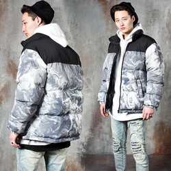 Contrast art painting padded parka