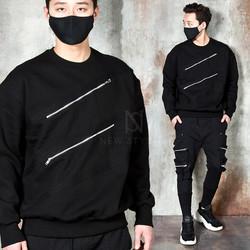 Double diagonal zipper strap sweatshirts