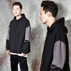 Distressed contrast loose fit hoodie